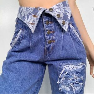 Vintage 80s High Waisted Lace Jeans